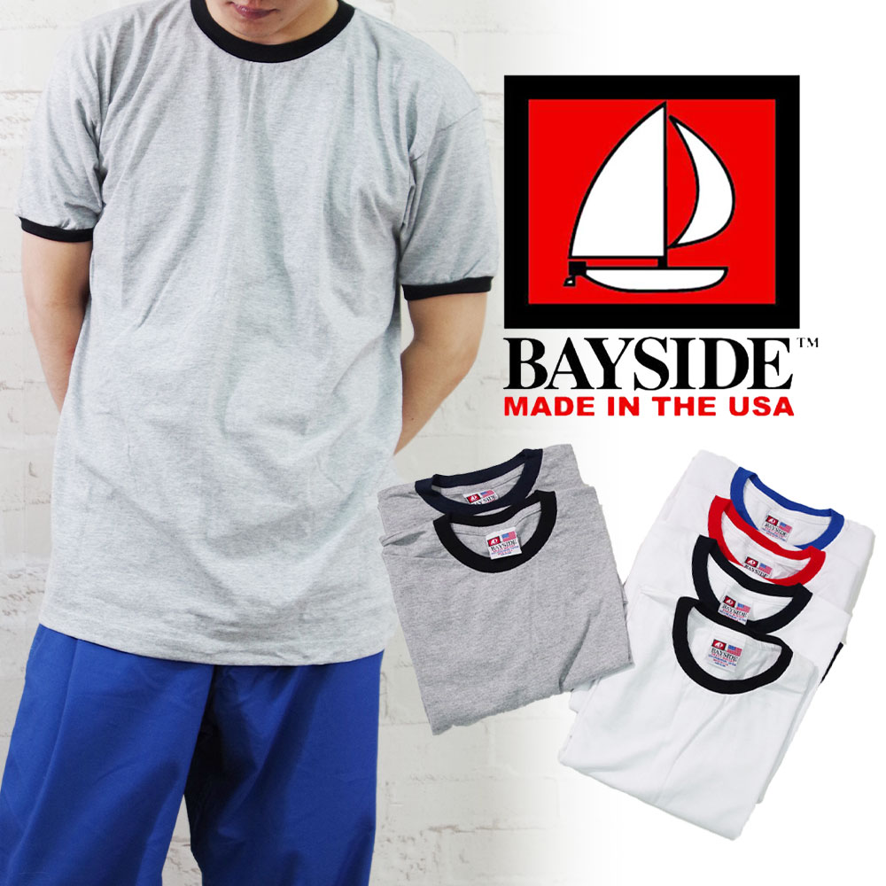 Made In USA S/S RINGER CREW 【BAYSIDE】